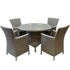 AVH-Collectie Capri Riccione dining tuinset 110 cm rond 5-delig grijs