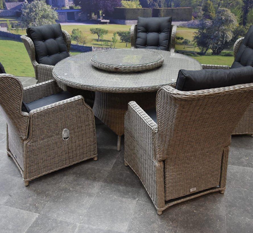 Ibiza Riccione dining tuinset 150 cm rond 7-delig grijs verstelbaar