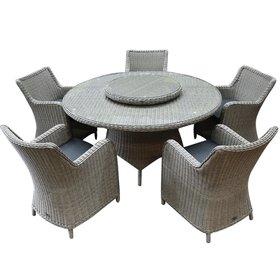 AVH-Collectie Bilbao Riccione dining tuinset 150 cm rond 7-delig grijs