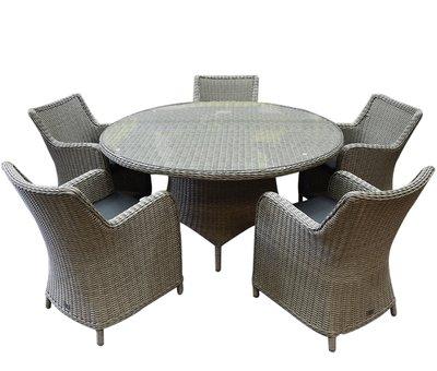 AVH-Collectie Bilbao Riccione dining tuinset 150 cm rond 6-delig grijs