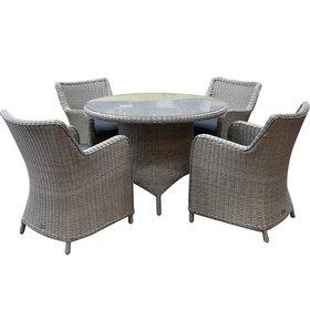 AVH-Collectie Bilbao Riccione dining tuinset 110 cm rond 5-delig grijs