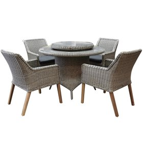 AVH-Collectie Ponte wooden legs Riccione dining tuinset 110 cm 6-delig  grijs