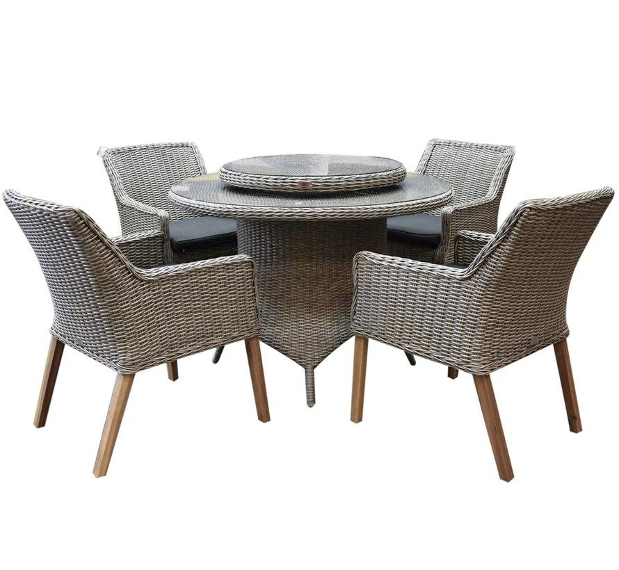 Ponte wooden legs Riccione dining tuinset 110 cm 6-delig  grijs