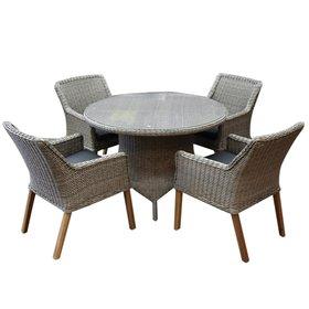 AVH-Collectie Ponte wooden legs Riccione dining tuinset 110 cm 5-delig grijs