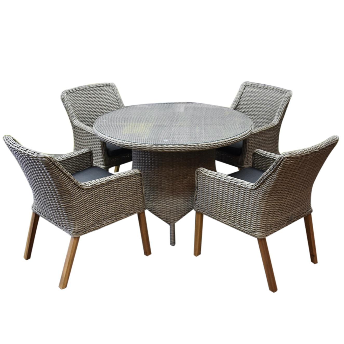 Ponte wooden legs Riccione dining tuinset 110 cm 5-delig grijs