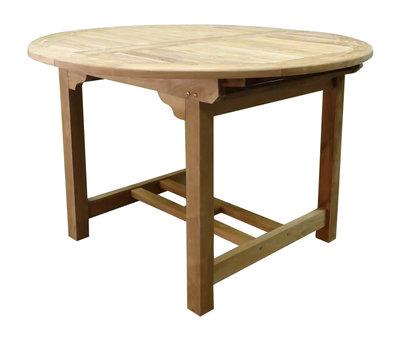 AVH-Collectie Rond uitschuifbare dining tuintafel 120-170x120xH76 cm teak