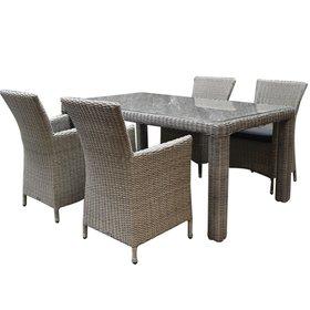 AVH-Collectie Capri Bergamo dining tuinset 180x100xH76 cm 5-delig grijs