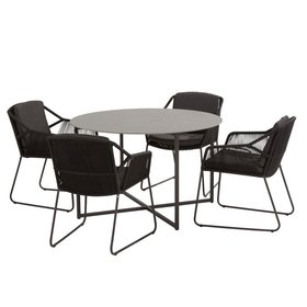 4 Seasons Outdoor Accor Quatro dining tuinset 5-delig 120cm rond  4 Seasons Outdoor