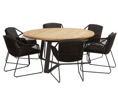 4 Seasons Outdoor Accor Basso dining tuinset 7-delig 160cm rond 4 Seasons Outdoor