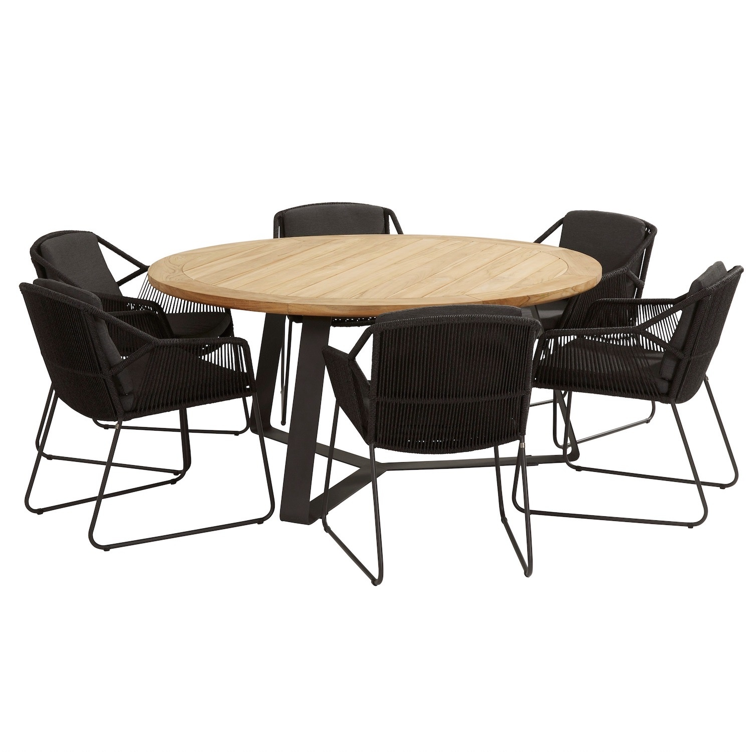 Accor Basso dining tuinset 7-delig 160cm rond 4 Seasons Outdoor