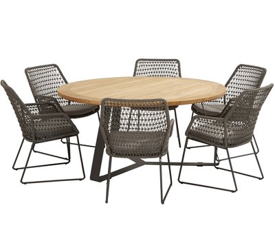 4 Seasons Outdoor Babilonia Basso dining tuinset 7-delig 160cm rond 4 Seasons Outdoor