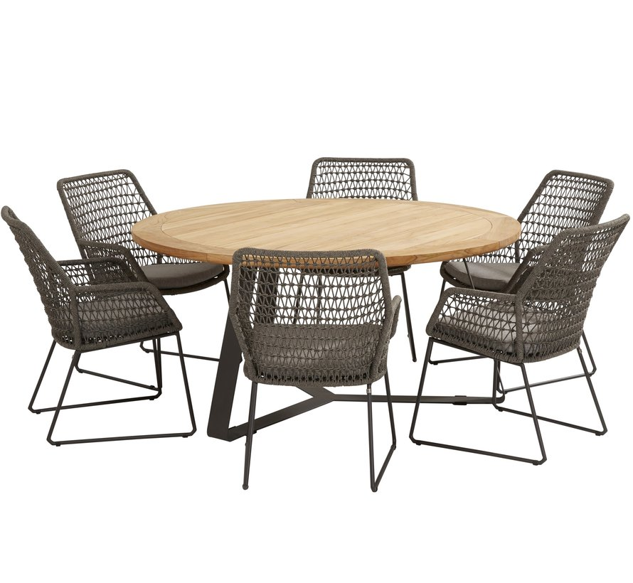 Babilonia Basso dining tuinset 7-delig 160cm rond 4 Seasons Outdoor