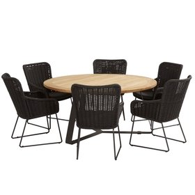 4 Seasons Outdoor Wing Basso dining tuinset 7-delig 160cm rond 4 Seasons Outdoor