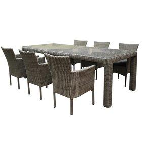 AVH-Collectie Capri stapelbaar Bergamo dining tuinset 240x100xH75 cm 7-delig grijs