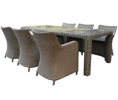 AVH-Collectie Bilbao Bergamo dining tuinset 240x100xH75 cm 7-delig grijs