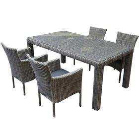 AVH-Collectie Capri stapelbaar Bergamo dining tuinset 180x100xH75 cm 5-delig grijs