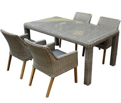 AVH-Collectie Ponte wood Bergamo dining tuinset 180x100xH75 cm 5-delig grijs