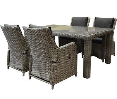 AVH-Collectie Bilbao Bergamo dining tuinset 180x100xH75 cm 5-delig grijs verstelbaar