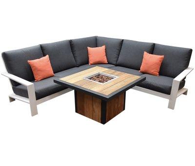 Garden Impressions Lincoln River hoek loungeset 4-delig aluminium wit