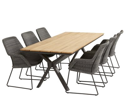 4 Seasons Outdoor Samoa Conrad dining tuinset 220x95xH76 cm 7-delig 4 Seasons Outdoor