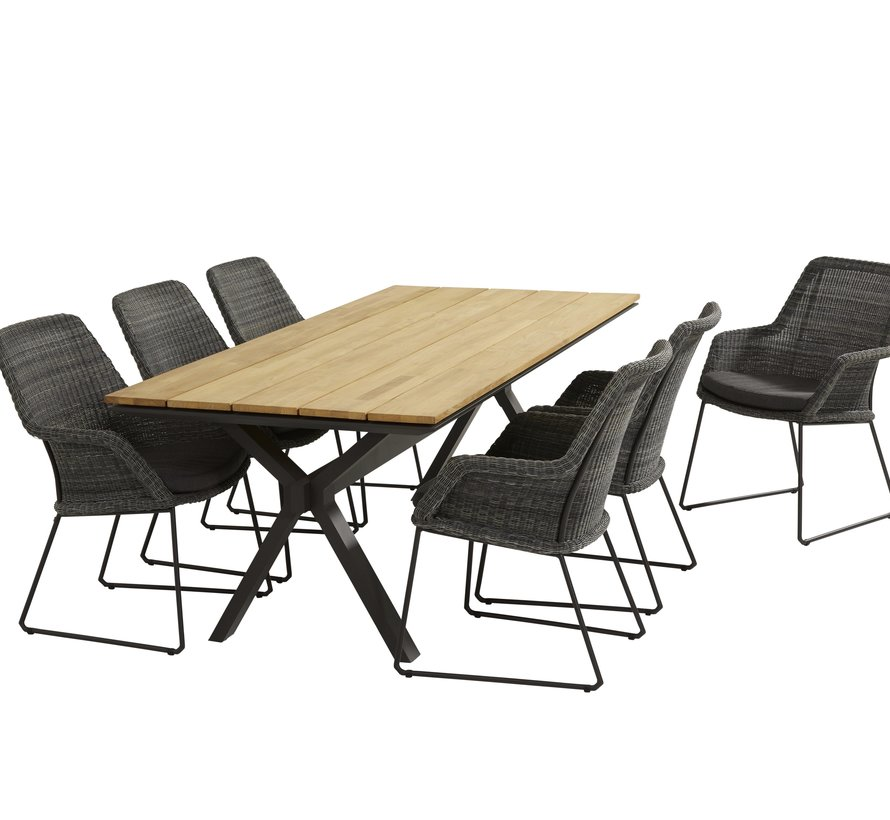 Samoa Conrad dining tuinset 220x95xH76 cm 7-delig 4 Seasons Outdoor
