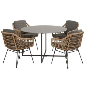 4 Seasons Outdoor Cottage Quatro dining tuinset 5-delig 120cm rond 4 Seasons Outdoor