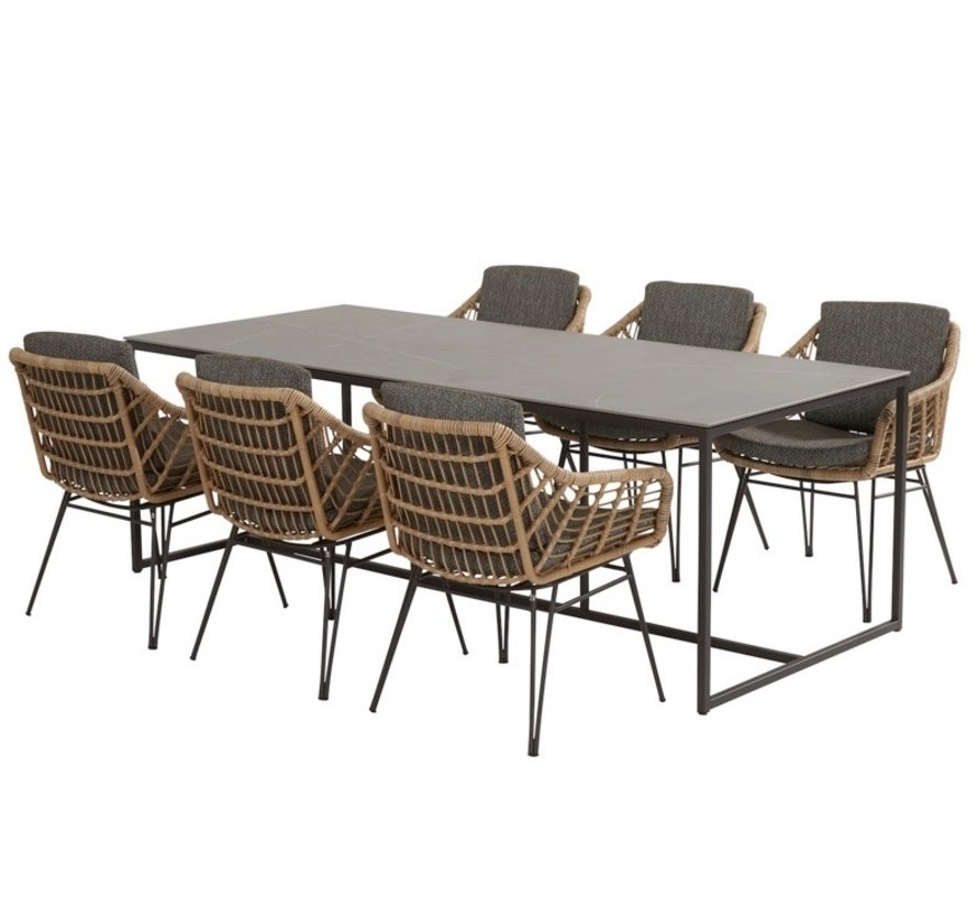Cottage Quatro dining tuinset 220x95xH76 cm 7-delig 4 Seasons Outdoor