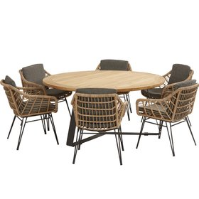4 Seasons Outdoor Cottage Basso dining tuinset 7-delig 160cm rond 4 Seasons Outdoor