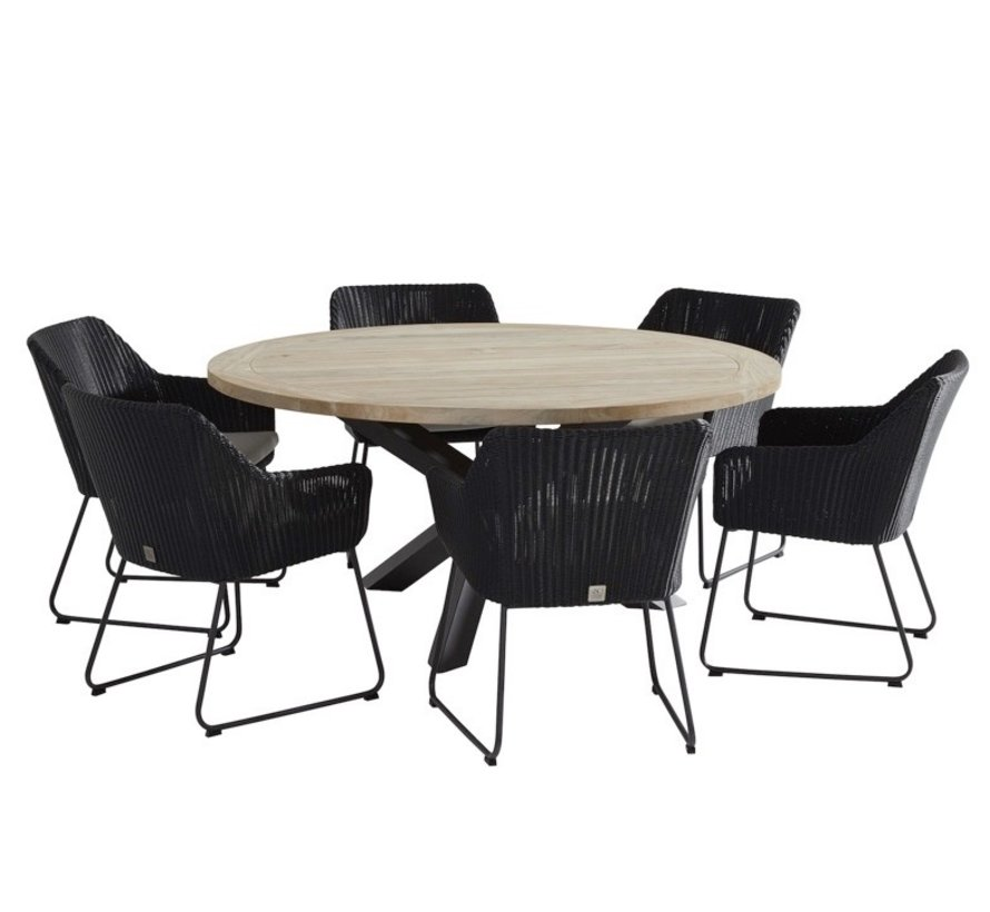 Louvre Avila dining tuinset 160xH75 cm rond 7-delig 4 Seasons Outdoor