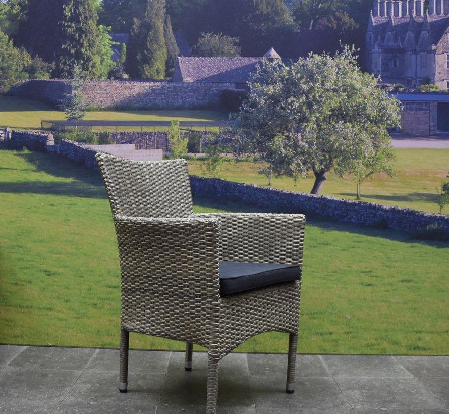 Capri stapelbaar Bergamo dining tuinset 180x100xH75 cm 5-delig grijs