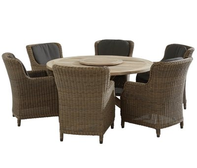 4 Seasons Outdoor Brighton Louvre dining tuinset 160cm rond 7-delig  4 Seasons Outdoor