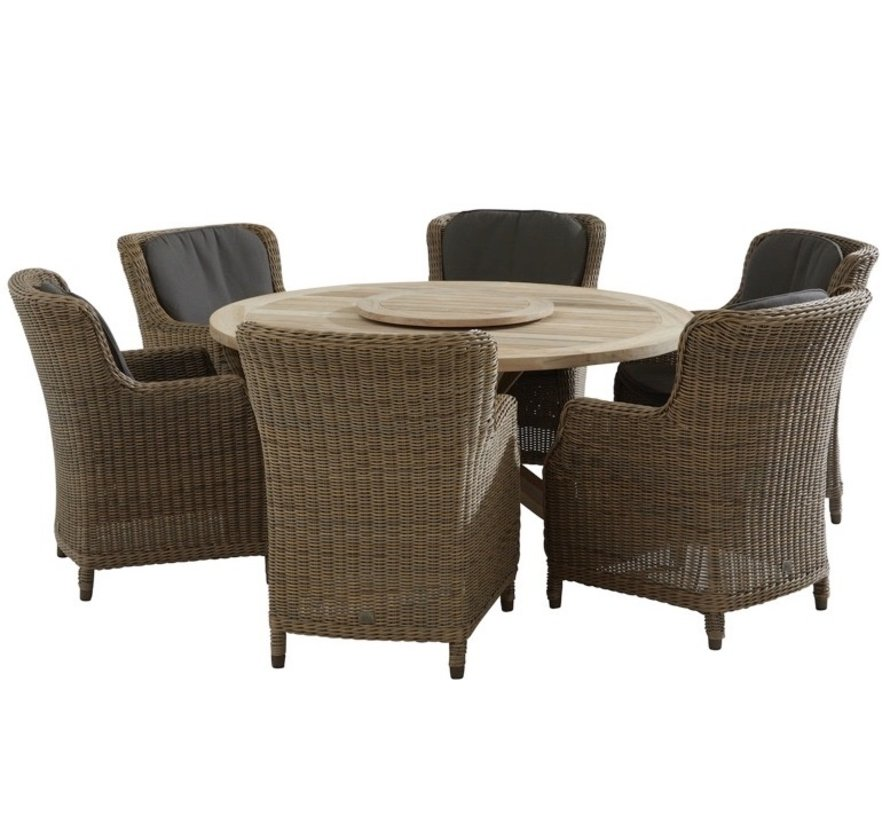 Brighton Louvre dining tuinset 160cm rond 7-delig  4 Seasons Outdoor