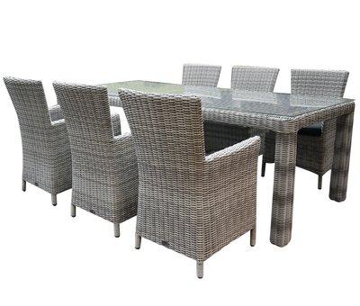 AVH-Collectie Capri Bergamo dining tuinset 240x100xH75 cm 7-delig wit