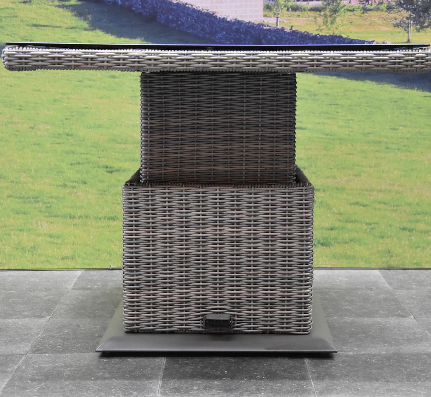 Miami lounge-diningtafel 90x90xH45-65 cm in hoogte verstelbaar grijs
