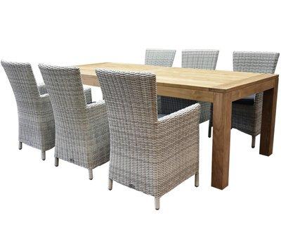AVH-Collectie Capri Krista dining tuinset 240x100xH77,5 cm wit