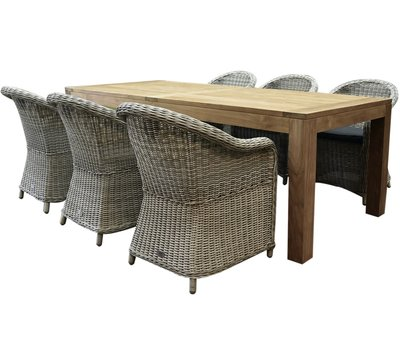 AVH-Collectie Chester Krista dining tuinset 240x100xH77,5 cm wit