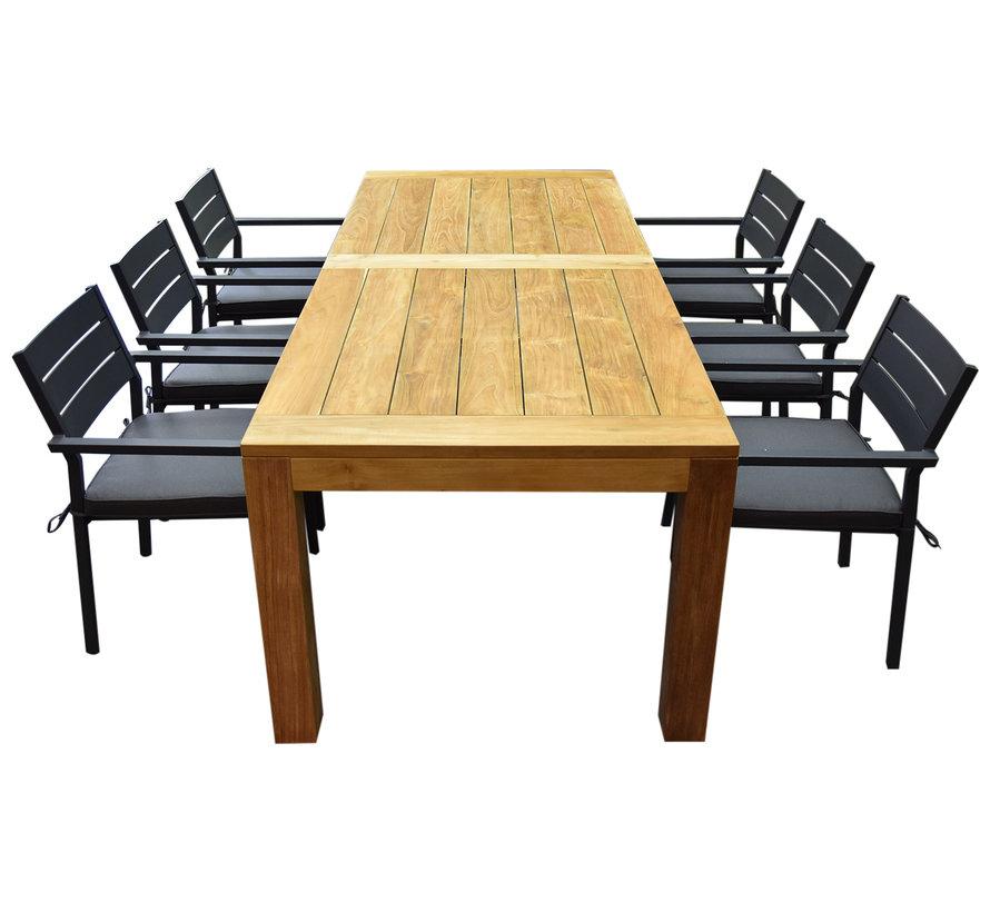 Barolo Krista dining tuinset 240x95x77,5h cm antraciet