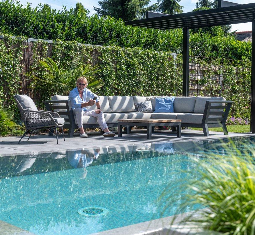 Meteor hoek loungeset 3-delig antraciet 4 Seasons Outdoor
