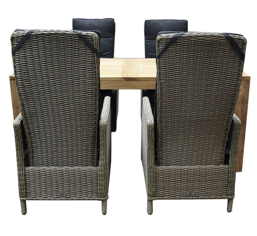 Empoli Krista dining tuinset 180x95xH77,5 cm 5-delig verstelbaar