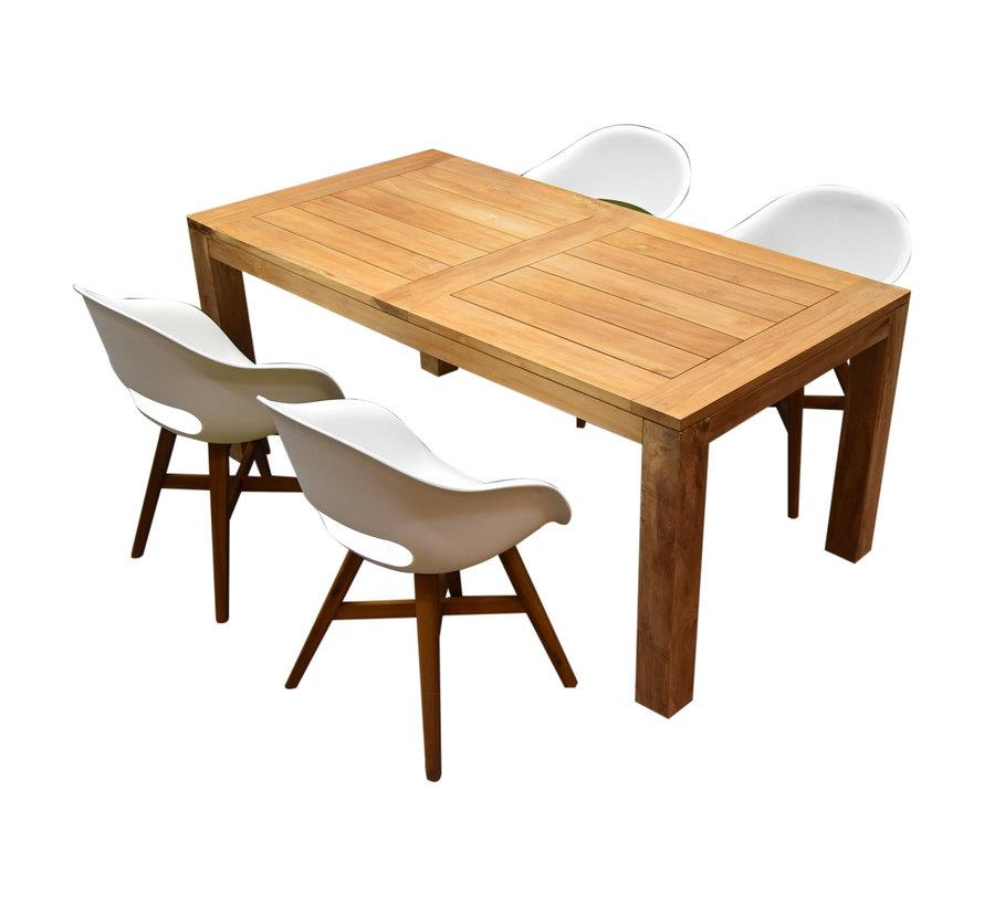 Karlstad Krista dining tuinset 180x95xH77,5 cm wit