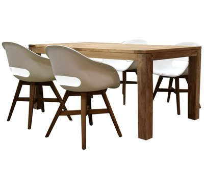 AVH-Collectie Karlstad Krista dining tuinset 180x95xH77,5 cm wit
