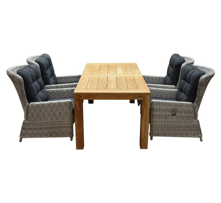 Marina lounge Krista dining tuinset 180x95xH77,5 cm 5-delig verstelbaar wit