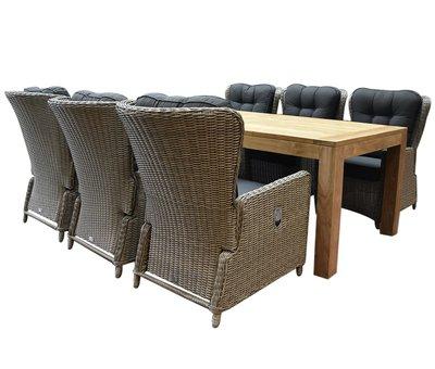 AVH-Collectie Marina lounge Krista dining tuinset 240x100xH77,5  cm 7-delig grijs verstelbaar