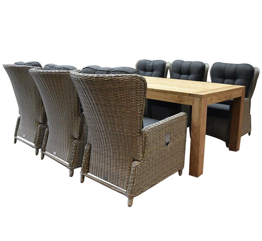 Marina lounge Krista dining tuinset 240x100xH77,5  cm 7-delig grijs verstelbaar
