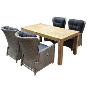 AVH-Collectie Marina lounge Krista dining tuinset 180x95xH77,5 cm 5-delig grijs verstelbaar