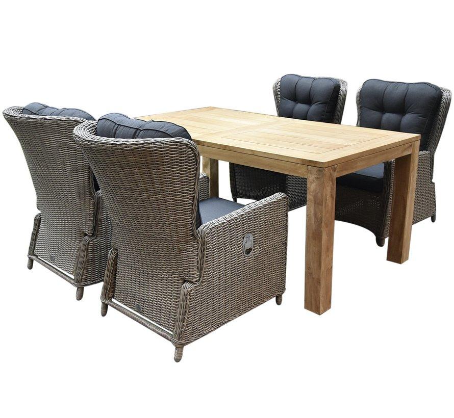 Marina lounge Krista dining tuinset 180x95xH77,5 cm 5-delig grijs verstelbaar