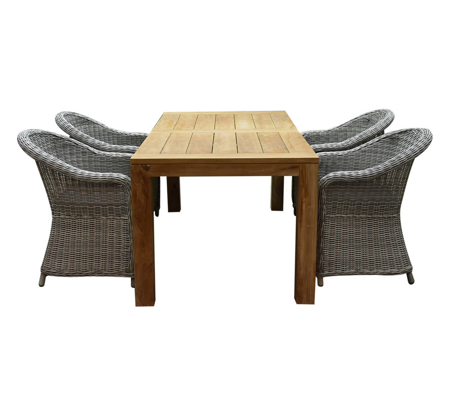 Chester Krista dining tuinset 180x95xH77,5 cm wit