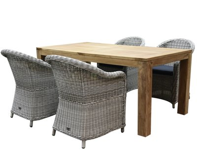 AVH-Collectie Chester Krista dining tuinset 180x95xH77,5 cm wit