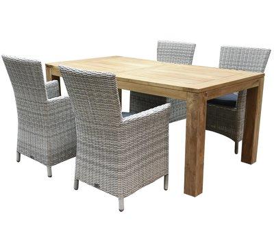 AVH-Collectie Capri Krista dining tuinset 180x95xH77,5 cm 5-delig wit
