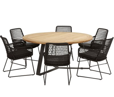 4 Seasons Outdoor Athena Basso dining tuinset 160xH77 cm rond  7-delig 4 Seasons Outdoor